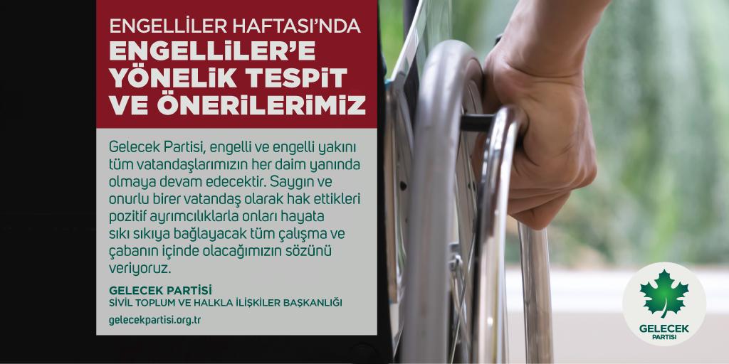 Engelliler Haftası'nda Engelliler'e Yönelik Tespit ve Önerilerimiz