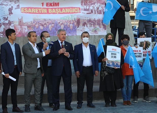 Doğu Türkistan'ın işgalinin 72. yılında Ankara'da protesto eylemi